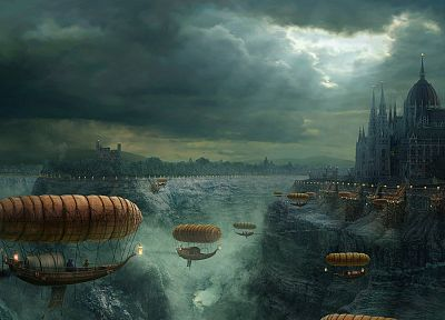 castles, steampunk, fantasy art, vehicles, airship - related desktop wallpaper