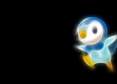 Pokemon, black background, Piplup - desktop wallpaper