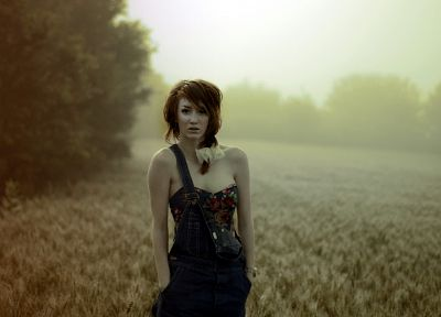 women, nature, redheads, fields, blurred - related desktop wallpaper