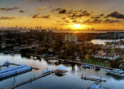 sunset, cityscapes, architecture, buildings, Miami - desktop wallpaper