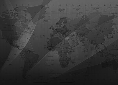 maps, monochrome, world map, greyscale - desktop wallpaper
