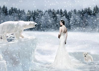 trees, snowflakes, white dress, polar bears - random desktop wallpaper