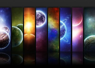 outer space, multicolor, stars, planets, artwork - related desktop wallpaper
