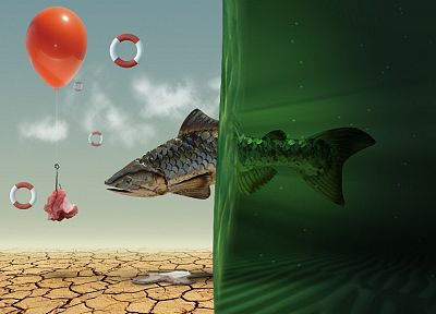 abstract, multicolor, fish, balloons - related desktop wallpaper