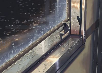 trains, Makoto Shinkai, 5 Centimeters Per Second, vehicles, window panes, train car - random desktop wallpaper