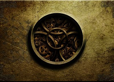 abstract, steampunk, textures, golden, gears, clockwork - duplicate desktop wallpaper