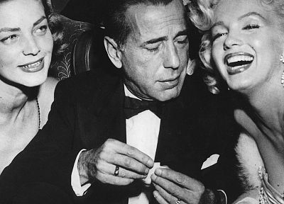 Humphrey Bogart, Lauren Bacall, Marilyn Monroe, monochrome - related desktop wallpaper