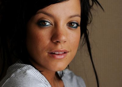 brunettes, women, Lily Allen, singers, faces - desktop wallpaper