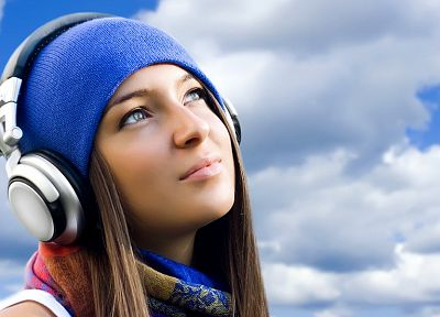 headphones, brunettes, beanies - random desktop wallpaper