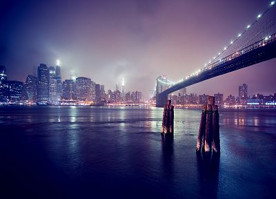 landscapes, cityscapes, night, bridges, buildings, Brooklyn Bridge - related desktop wallpaper