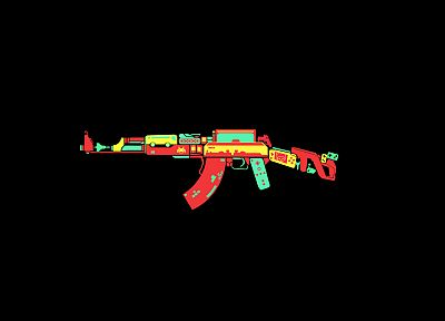 rifles, video games, weapons, black background - related desktop wallpaper
