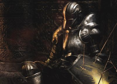 video games, knights, armor, artwork, Demon's Souls - related desktop wallpaper