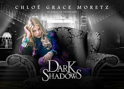 blondes, movies, actress, vampires, Chloe Moretz, monochrome, Dark Shadows - desktop wallpaper