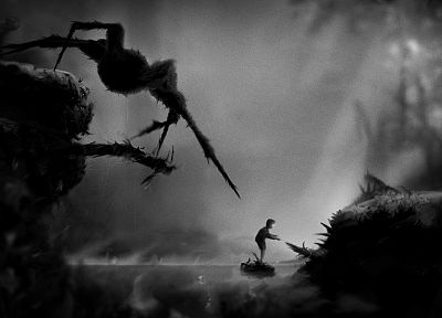 Limbo, monochrome, artwork - random desktop wallpaper