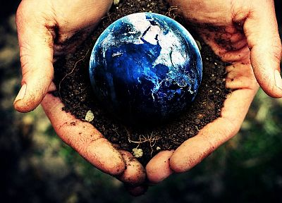 hands, Earth, depth of field, photo manipulation, Terra - related desktop wallpaper