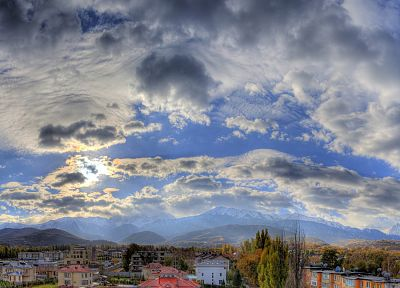 clouds, villages, HDR photography, skyscapes - random desktop wallpaper