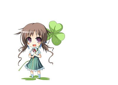 brunettes, chibi, clover, simple background, anime girls - desktop wallpaper