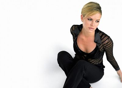 women, actress, Charlize Theron, simple background - duplicate desktop wallpaper