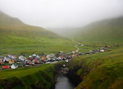 nature, hills, valleys, fog, mist, tilt-shift, villages - related desktop wallpaper
