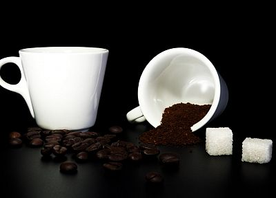 coffee, cups, objects, black background - related desktop wallpaper