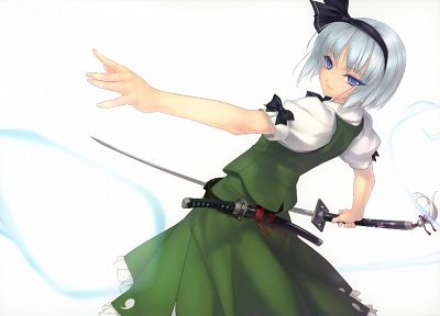 Touhou, blue eyes, katana, skirts, weapons, ghosts, Konpaku Youmu, short hair, bows, white hair, Myon, simple background, green dress, hair band, swords, white background, Rokuwata Tomoe, fighters - related desktop wallpaper
