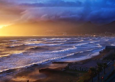 water, sunset, landscapes, nature, waves, storm, sunlight, oceans, waterscapes - related desktop wallpaper