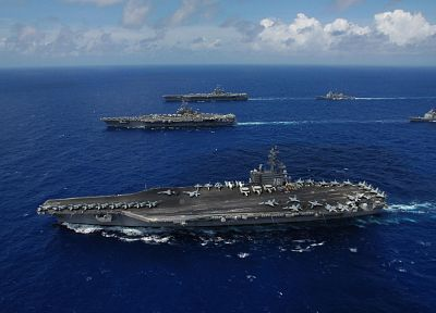 military, US Navy, aircraft carriers, fleet - desktop wallpaper