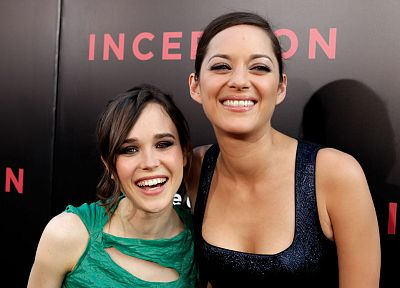 women, Ellen Page, actress, Marion Cotillard, smiling - desktop wallpaper