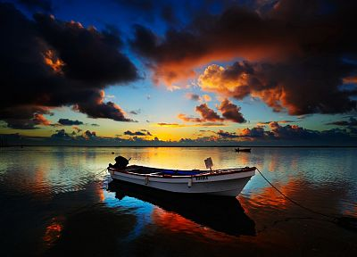sunrise, clouds, boats, vehicles, sea - random desktop wallpaper
