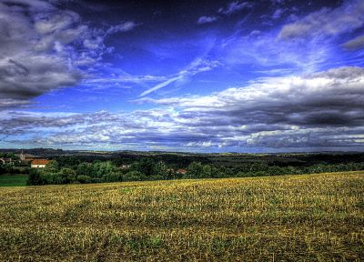 clouds, landscapes, fields, blue hair, churches, Czech Republic, HDR photography - related desktop wallpaper