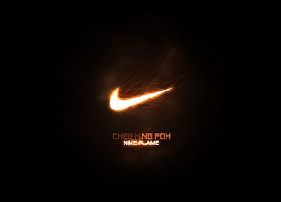 black, fire, Nike, logos, black background - random desktop wallpaper