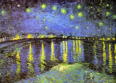 paintings, night, Classic, Vincent Van Gogh, Starry Night Over the Rhone - desktop wallpaper