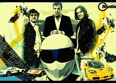 TV, Top Gear, The Stig, Jeremy Clarkson, Ferrari Enzo, McLaren F1, James May, Richard Hammond - random desktop wallpaper