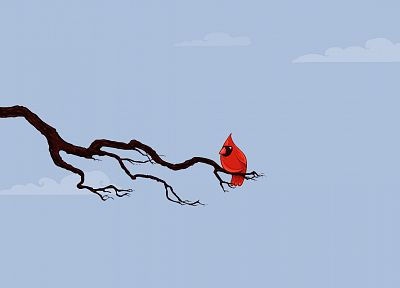 minimalistic, birds, David Lanham, branches, Northern Cardinal - desktop wallpaper