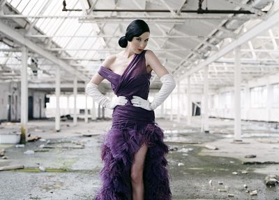 women, Dita Von Teese, purple dress - random desktop wallpaper