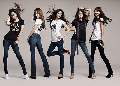 brunettes, women, jeans, Girls Generation SNSD, celebrity, high heels, Asians, Korean, bangs - related desktop wallpaper