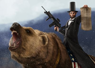 guns, Abraham Lincoln, CGI, bears, 3D - random desktop wallpaper