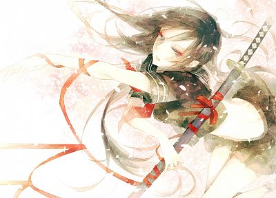 katana, school uniforms, ribbons, weapons, blossoms, seifuku, artwork, anime, flower petals, anime girls, swords - random desktop wallpaper