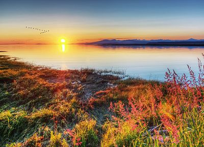sunset, landscapes, nature, Sun, lakes - related desktop wallpaper