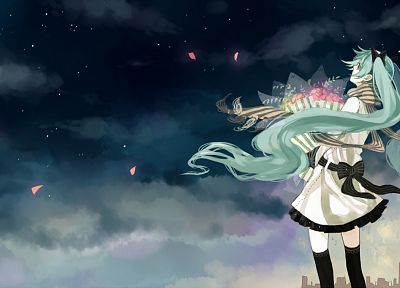 Vocaloid, Hatsune Miku, green hair, skyscapes - desktop wallpaper