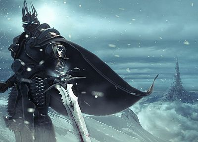 video games, snow, Lich King, armor, Arthas, artwork, swords, frostmourne, Warcraft - desktop wallpaper