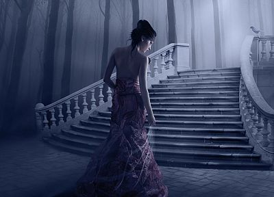 brunettes, women, fantasy, trees, dress, forests, birds, fog, stairways, back view, mystery, hair up - related desktop wallpaper