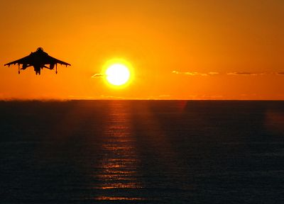 sunset, aircraft, harrier, vehicles - desktop wallpaper