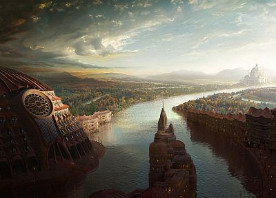 cityscapes, fantasy art, rivers - related desktop wallpaper