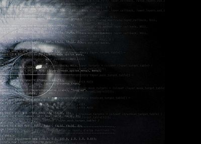 abstract, eyes, text, programming - related desktop wallpaper