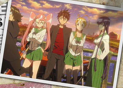 Highschool of the Dead, Miyamoto Rei, Busujima Saeko, Komuro Takashi, Takagi Saya - random desktop wallpaper