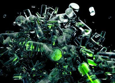 green, abstract, bottles - random desktop wallpaper