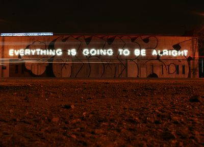 neon lamp, graffiti, buildings, Everything Is Going To Be Alright - desktop wallpaper