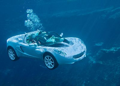 cars, white cars, underwater - desktop wallpaper