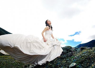 women, dress, brides, Asians, skyscapes - related desktop wallpaper